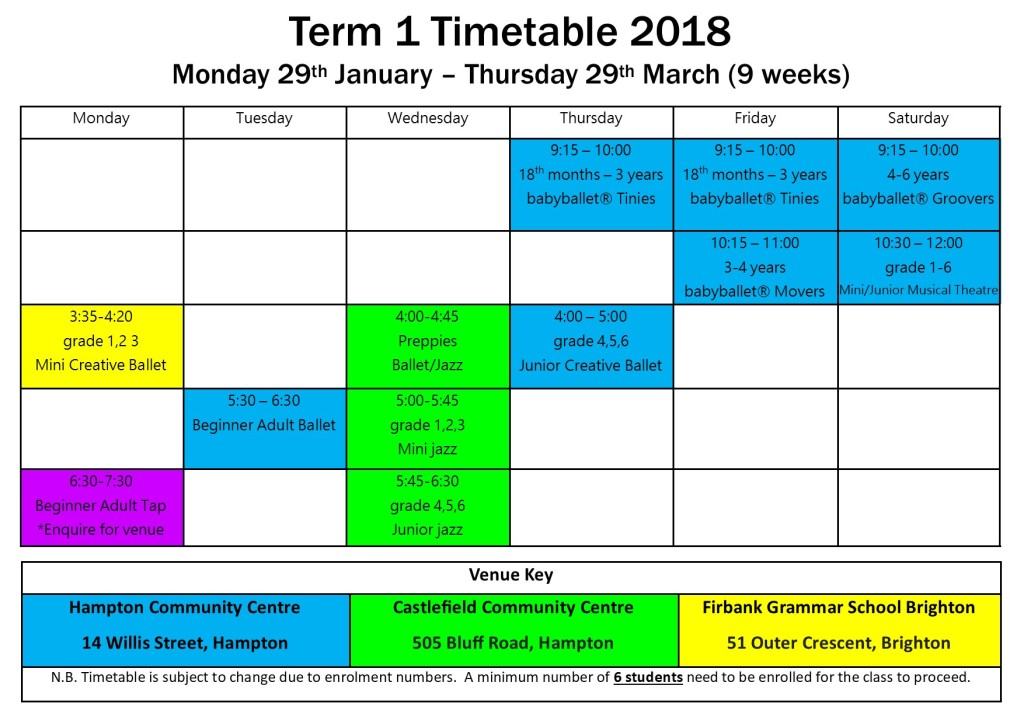 t1 timetable 2018