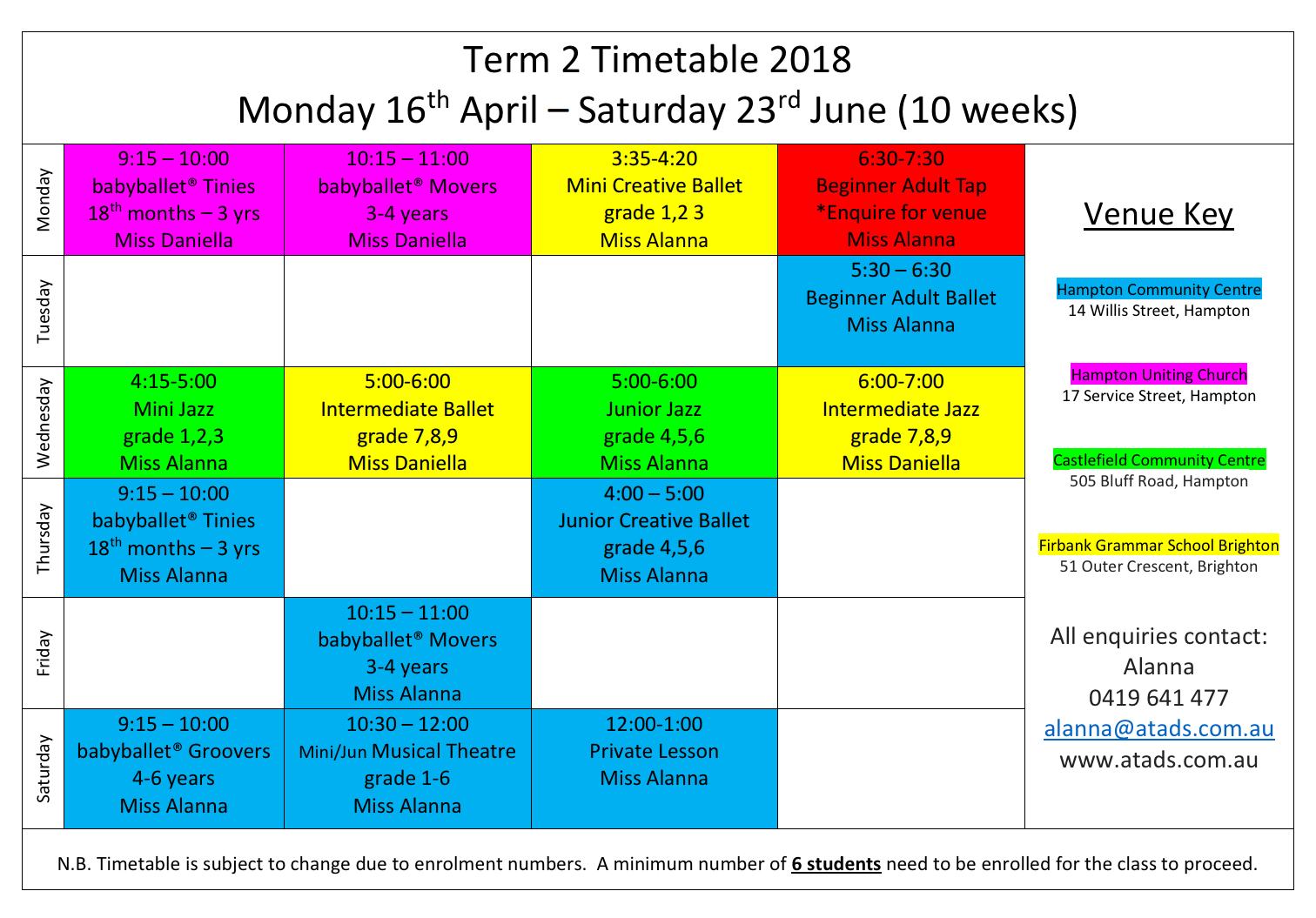 t2 timetable