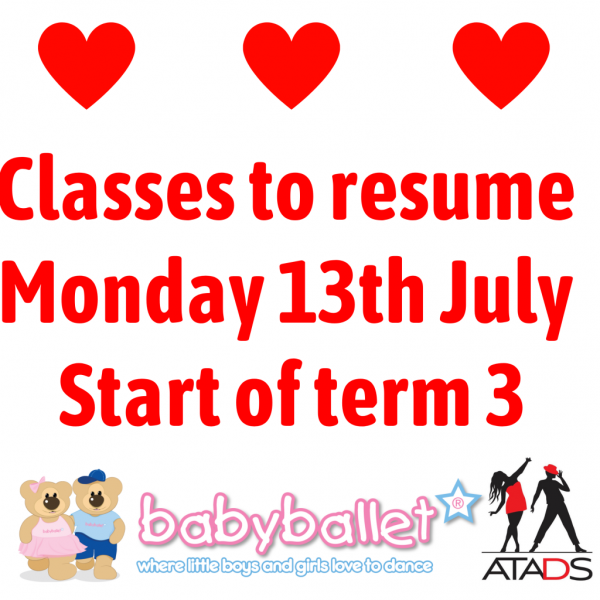 Classes to resume Monday 13th July Start of term 3