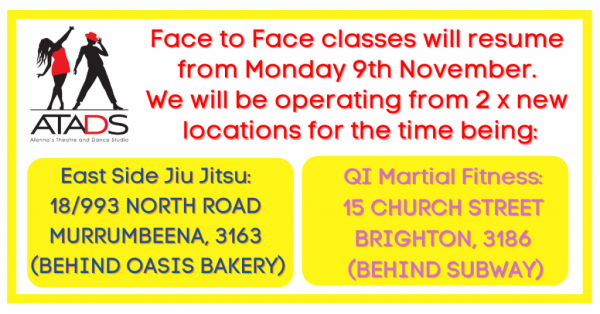Face to Face classes will be resuming from Monday 9th November. Stand by for more information. (1)