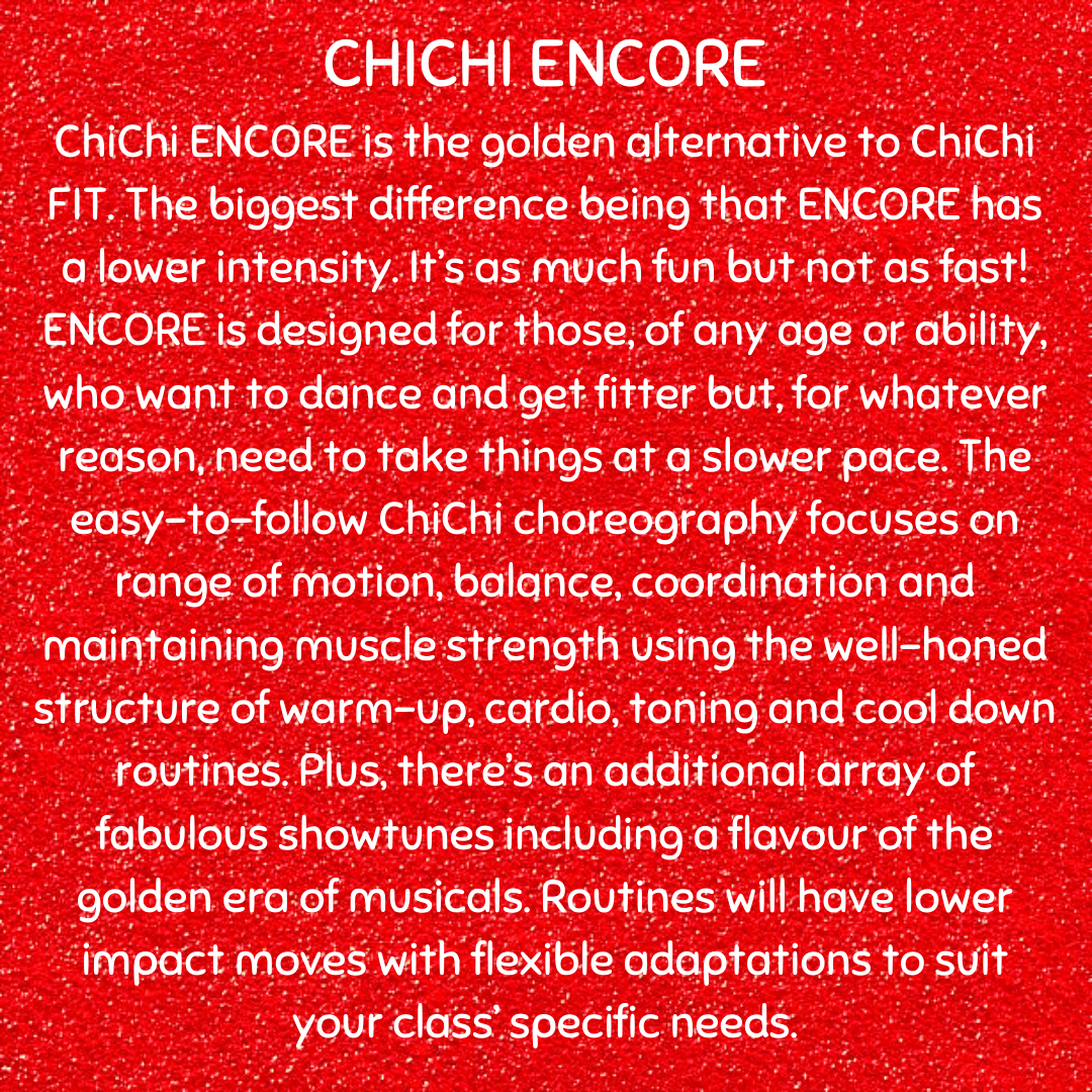 CHICHI FIT ChiChi FIT is our signature programme. It is fun and addictive and where the roots of ChiChi FIT began. You'll learn simple-to-follow routines from a variety of differ (1)